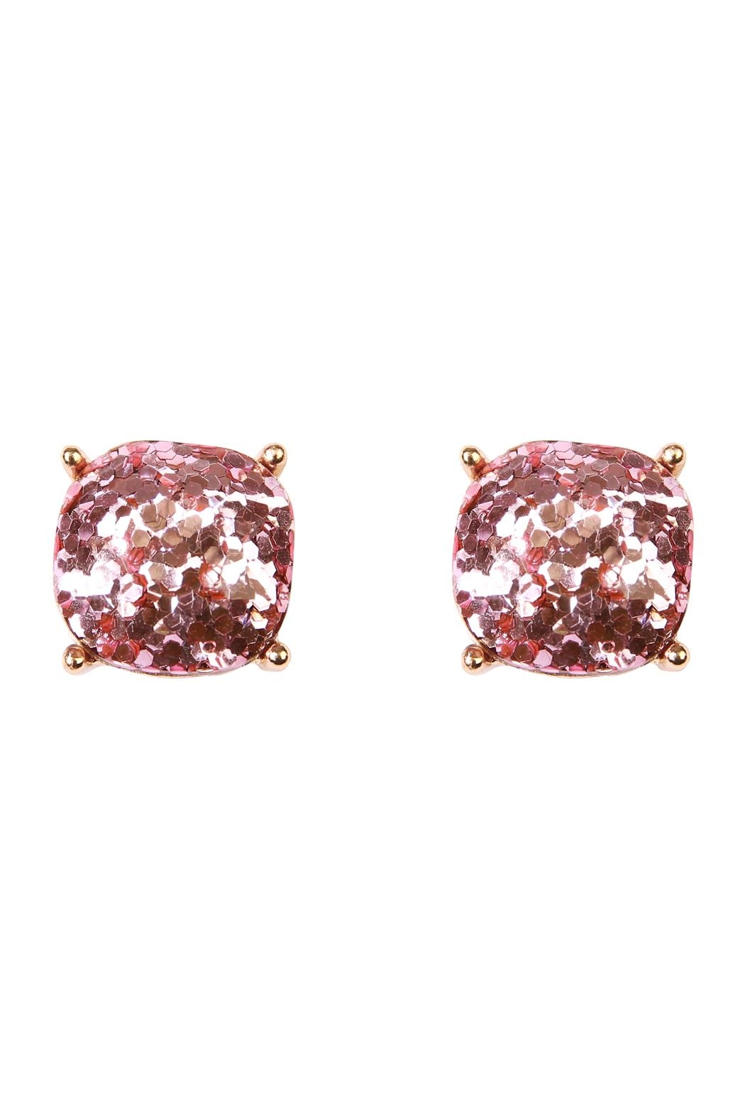 Riah Fashion Cushion Glitter Earrings - Main Image