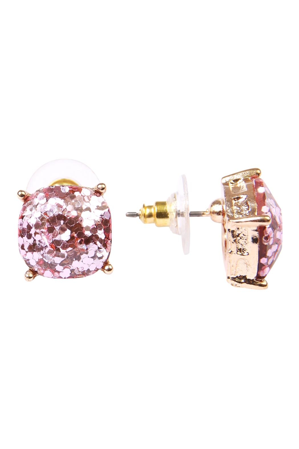 Riah Fashion Cushion Glitter Earrings - Front Full Image