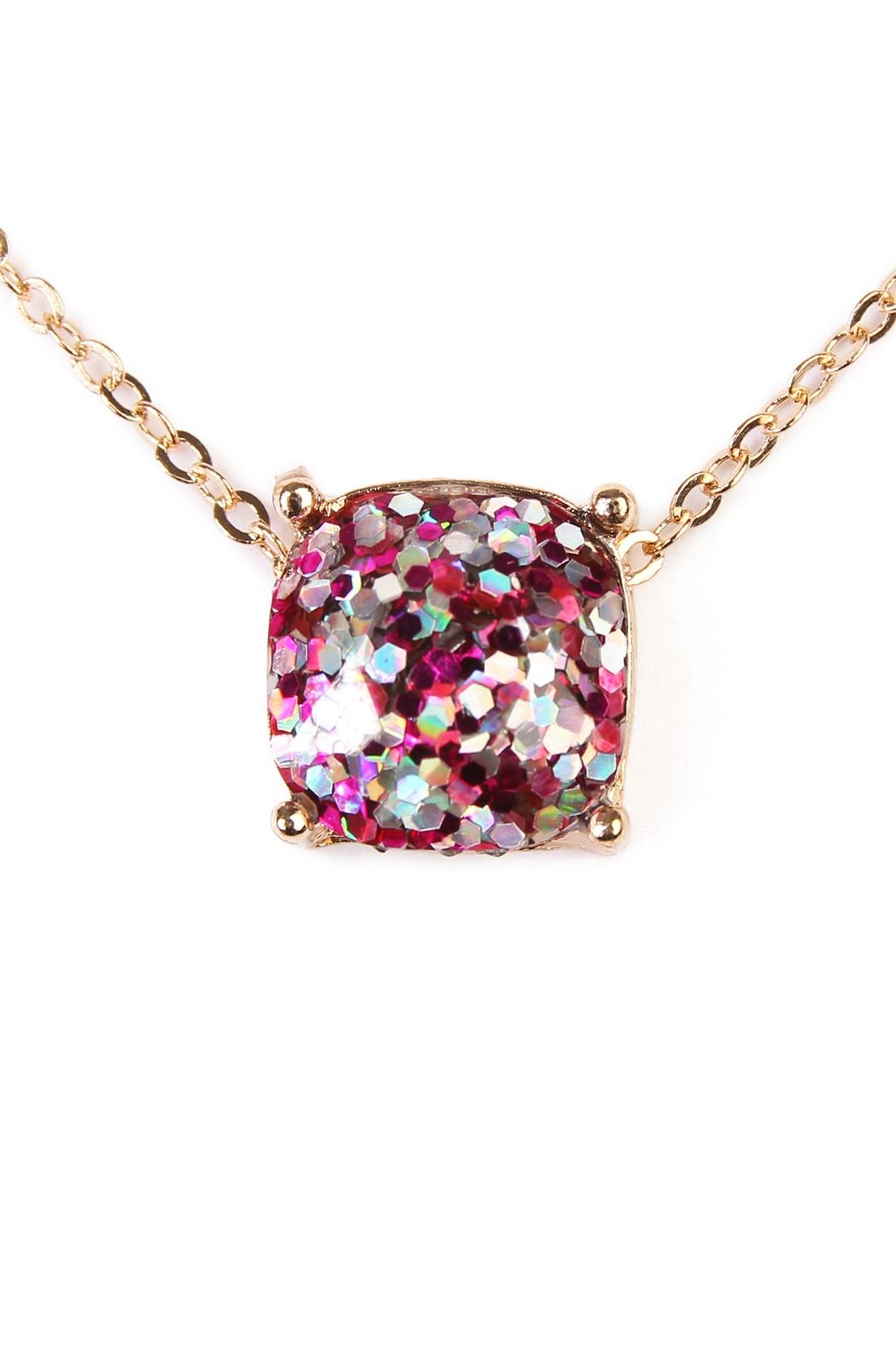 Riah Fashion Cushion Glitter Necklace - Front Full Image