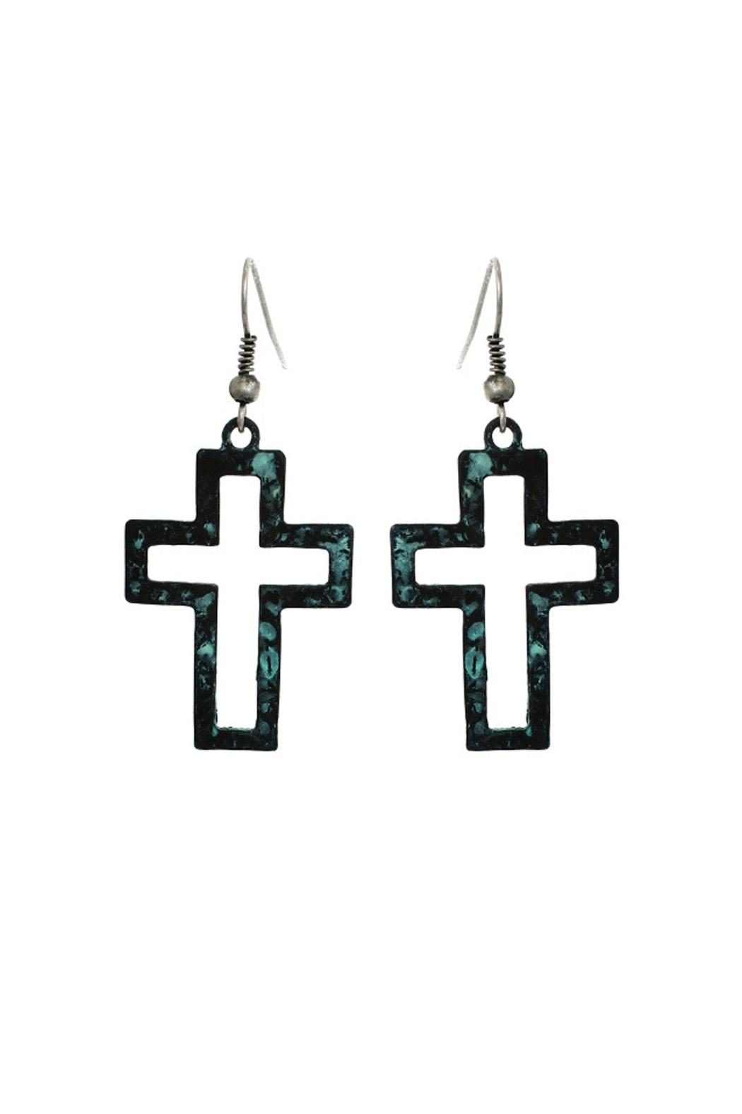 Riah Fashion Cut Out Cross Earrings - Front Cropped Image