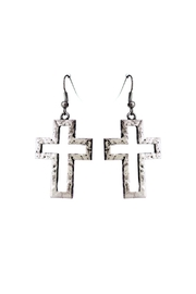 Riah Fashion Cut Out Cross Earrings - Product Mini Image