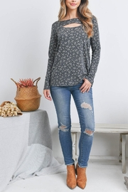 Riah Fashion Cut-Out-Front-Long-Sleeve-Floral-Top - Product Mini Image