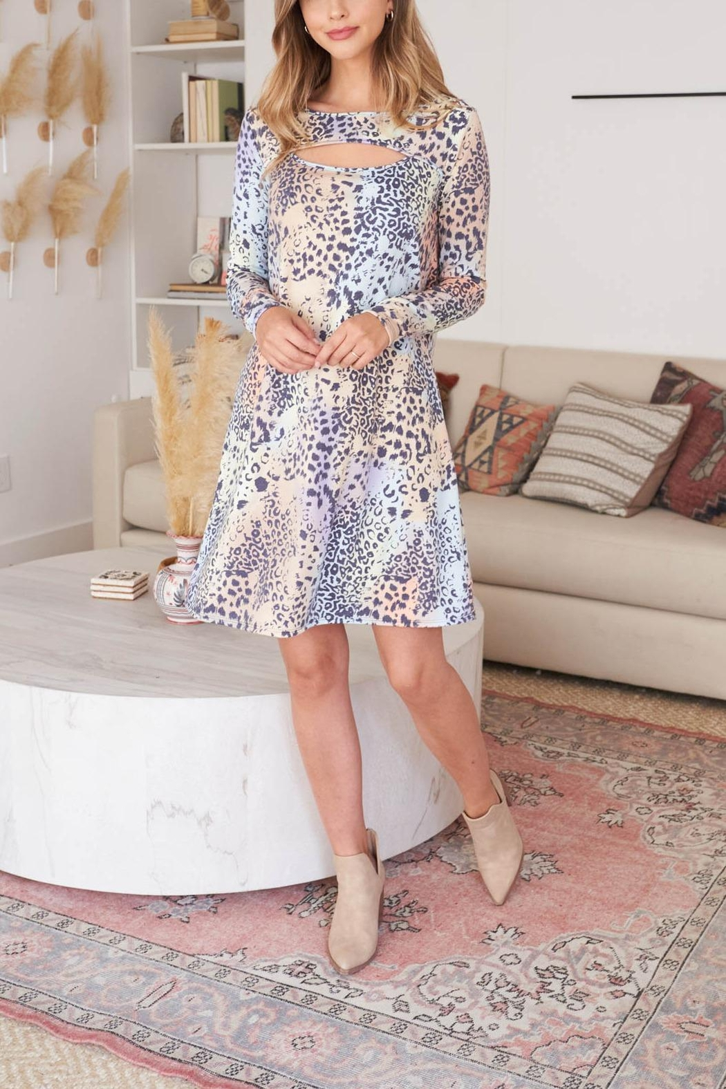 Riah Fashion Cut-Out-Front-Long-Sleeve-Leopard-Dress-Camel - Front Full Image