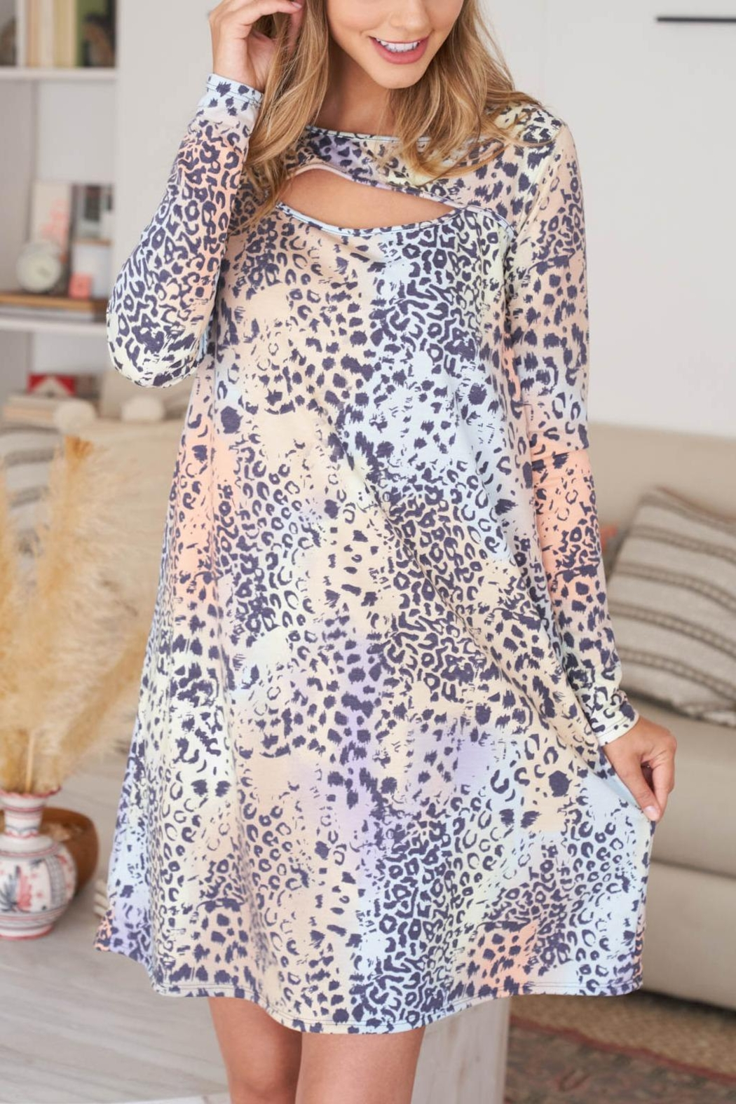 Riah Fashion Cut-Out-Front-Long-Sleeve-Leopard-Dress-Camel - Back Cropped Image