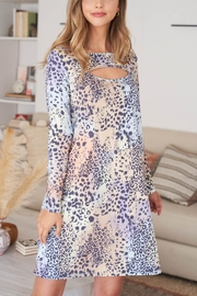 Riah Fashion Cut-Out-Front-Long-Sleeve-Leopard-Dress-Camel - Other