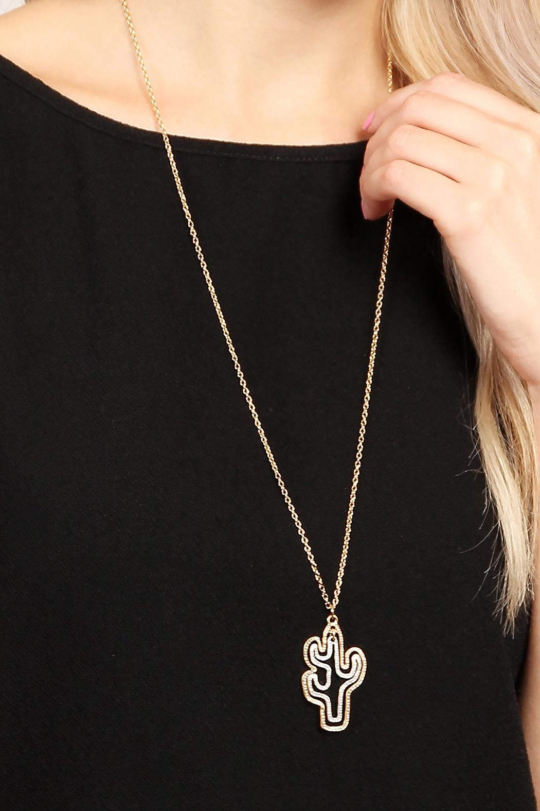 Riah Fashion Cute Cactus Necklace - Side Cropped Image