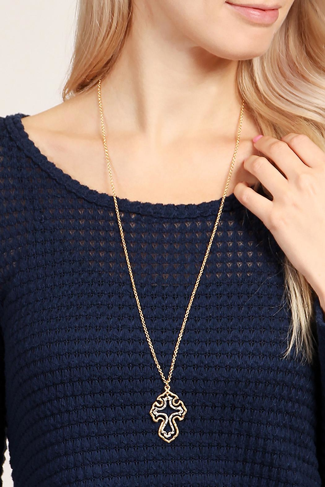 Riah Fashion Cute Cross Necklace - Back Cropped Image