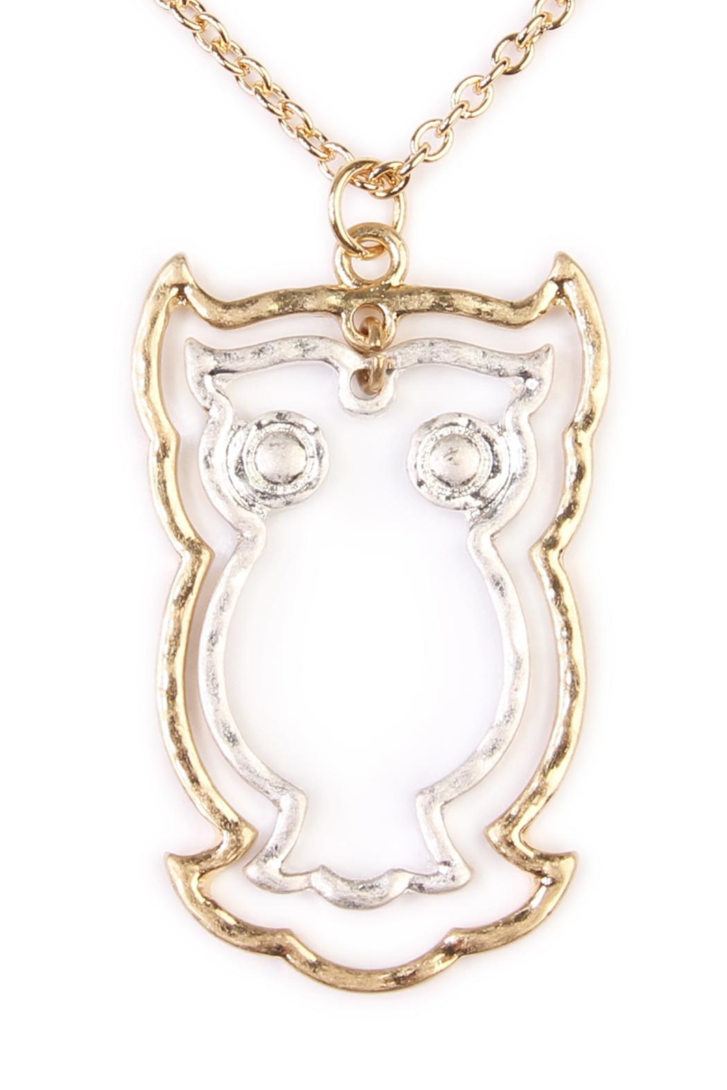 Riah Fashion Cute Owl Necklace - Front Full Image