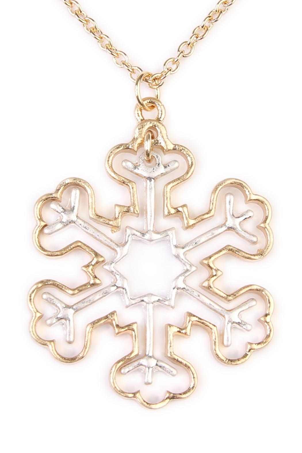 Riah Fashion Cute Snowflake Necklace - Front Full Image
