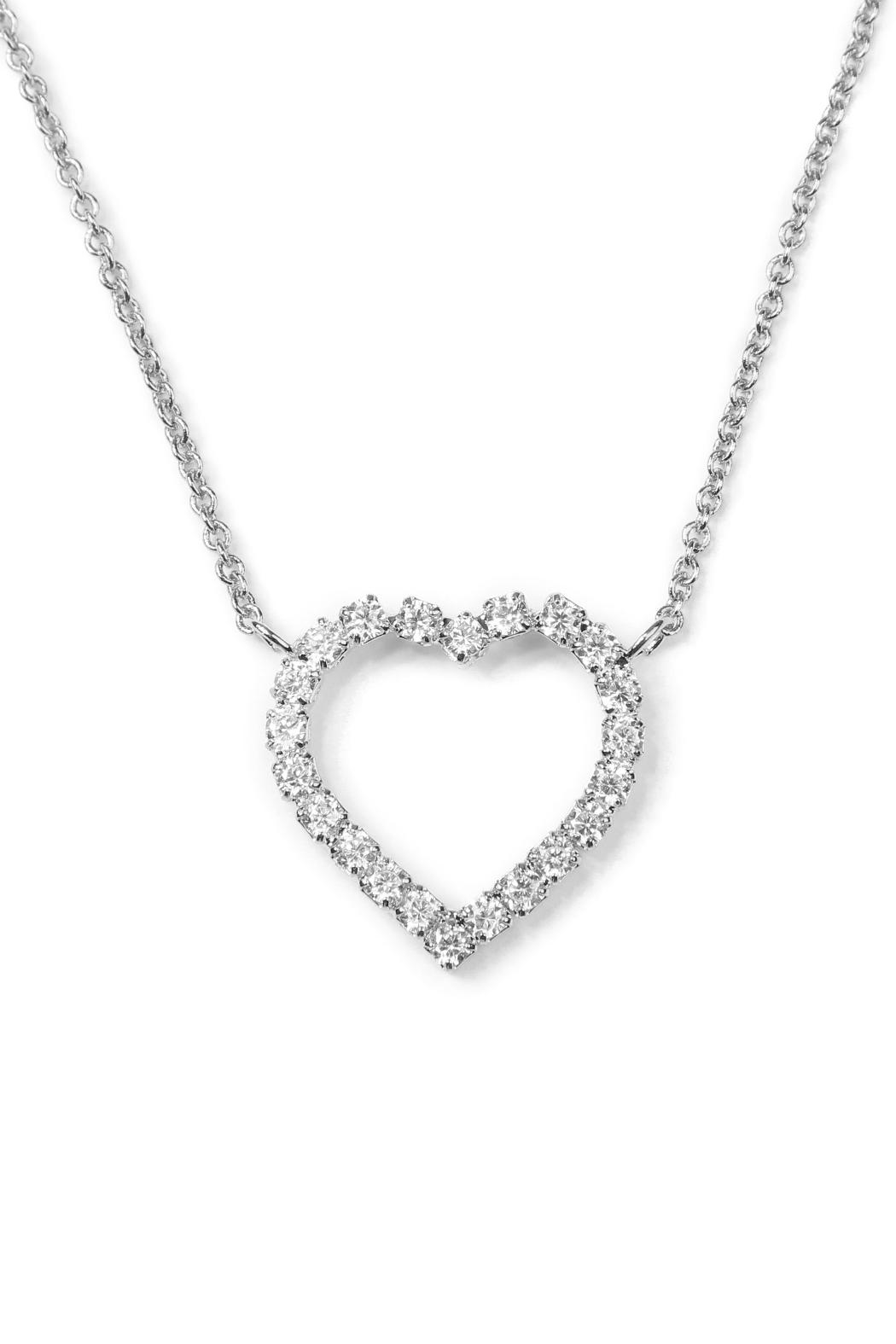 Riah Fashion Cutout Heart Pendant Necklace - Front Full Image