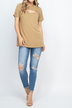 Riah Fashion Cutout-Ope- Front-Short-Sleeve-Solid-Top - Alternate List Image