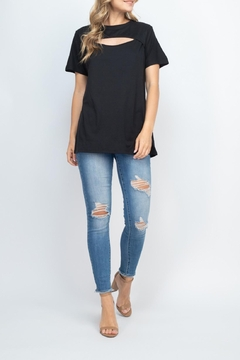 Riah Fashion Cutout-Open-Front-Short-Sleeve-Solid-Top - Product List Image