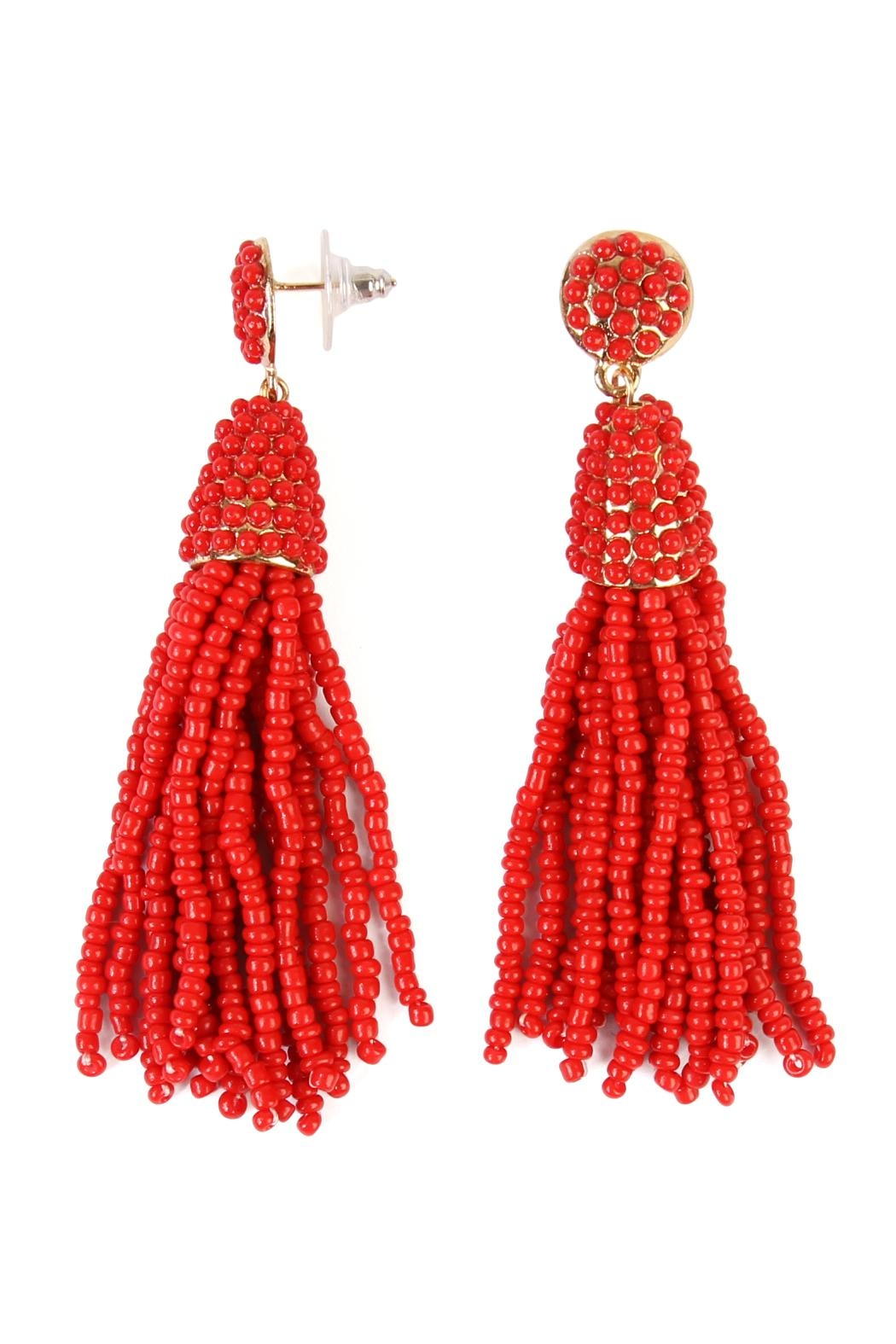 Riah Fashion Czech Beads Tassel Earrings - Front Cropped Image