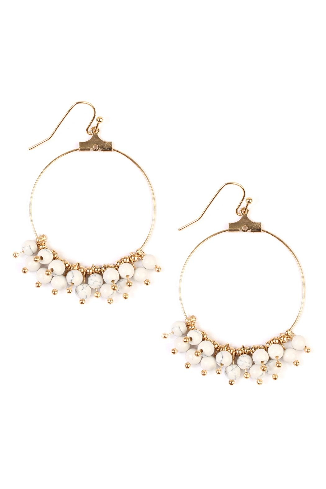 Riah Fashion Dangling Natural Stone-Earring - Front Cropped Image
