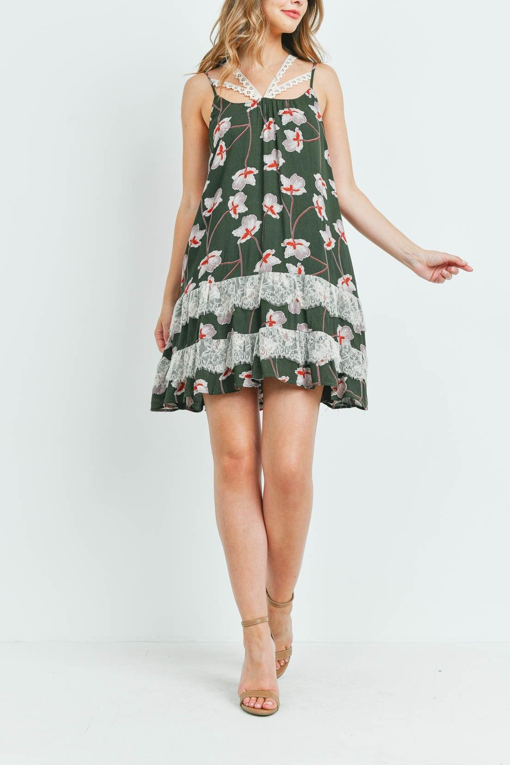 Riah Fashion Dark-Olive With-Flower-Print-Dress - Side Cropped Image