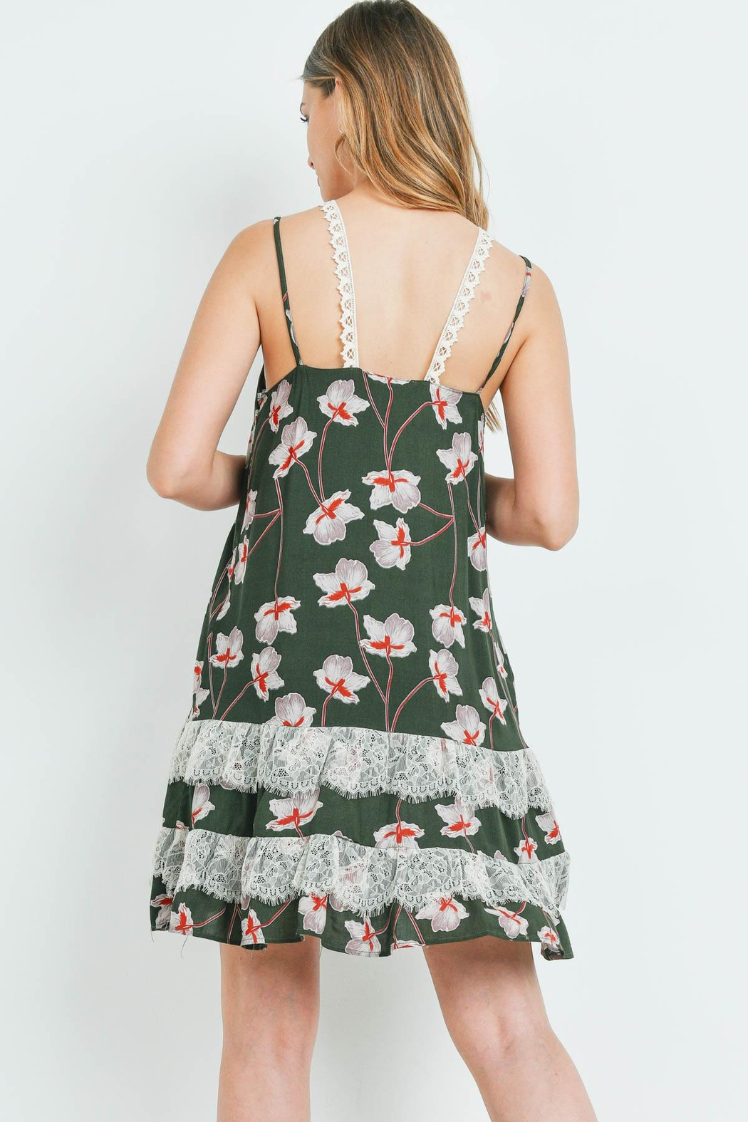 Riah Fashion Dark-Olive With-Flower-Print-Dress - Front Full Image