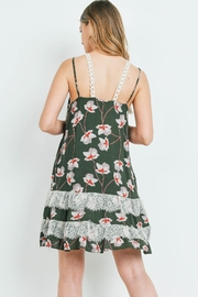 Riah Fashion Dark-Olive With-Flower-Print-Dress - Front full body