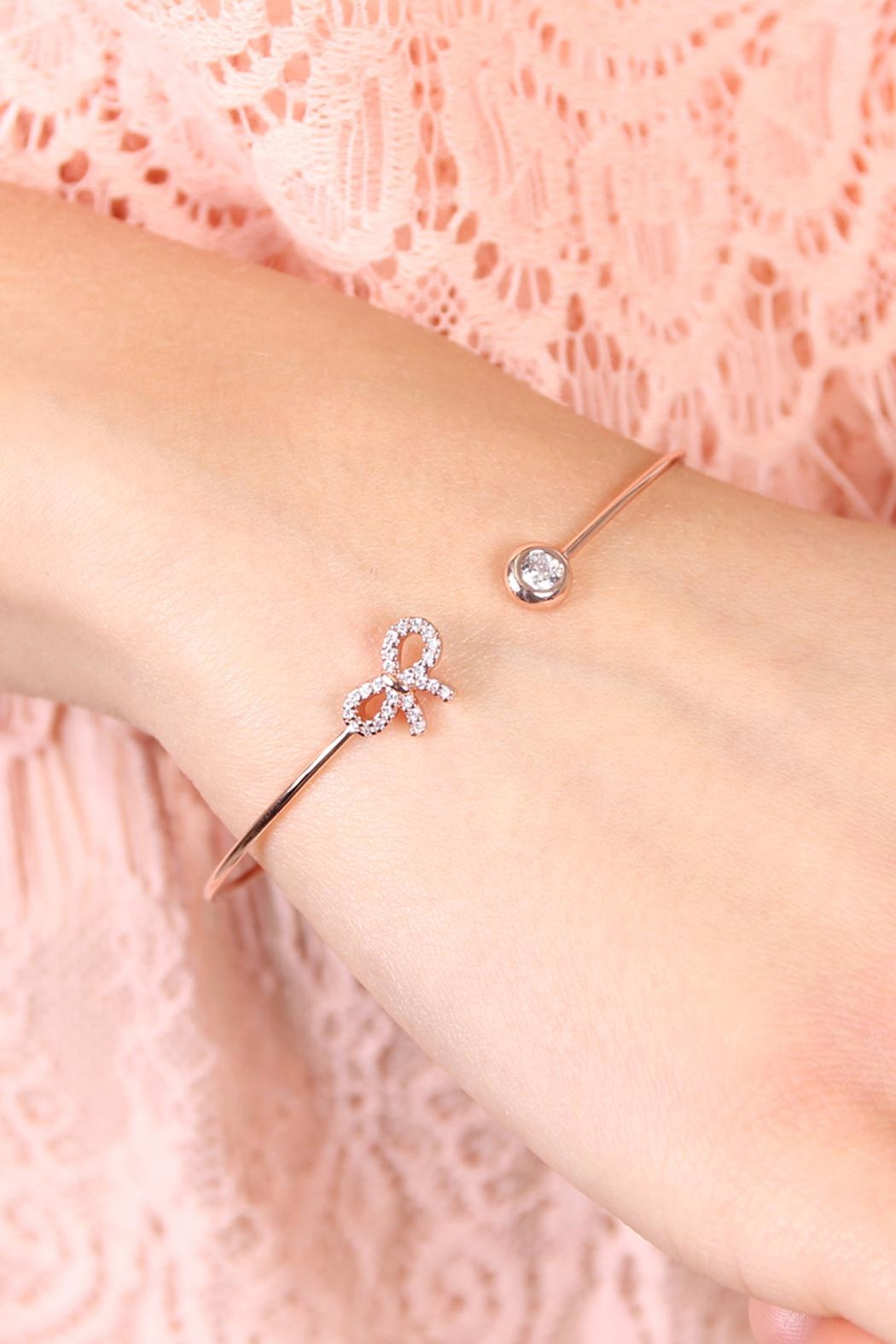 Riah Fashion Delicate Bow Cuff Bracelet - Front Full Image
