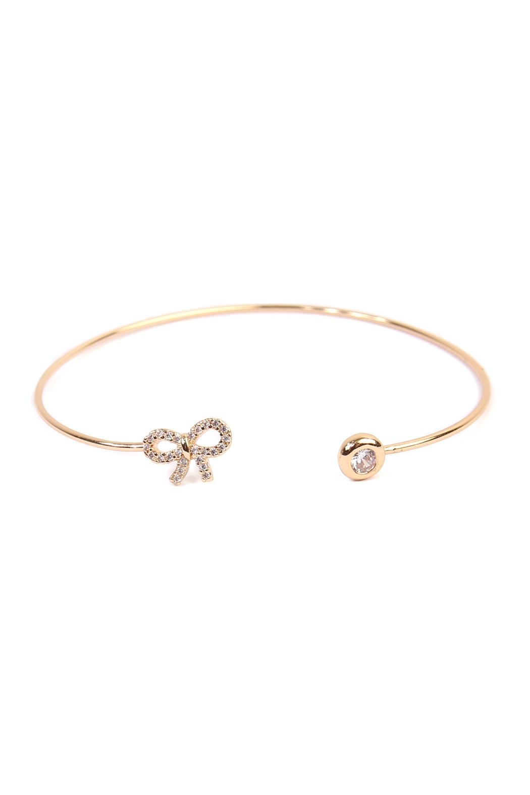 Riah Fashion Delicate Bow Cuff Bracelet - Front Cropped Image