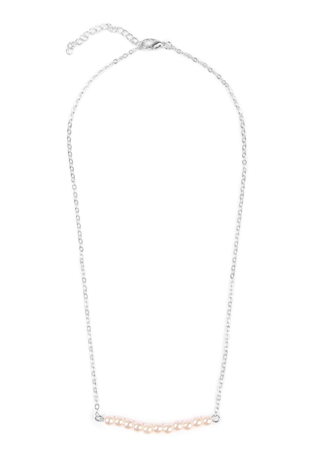 Riah Fashion Delicate Pearl-Bar Necklace - Main Image