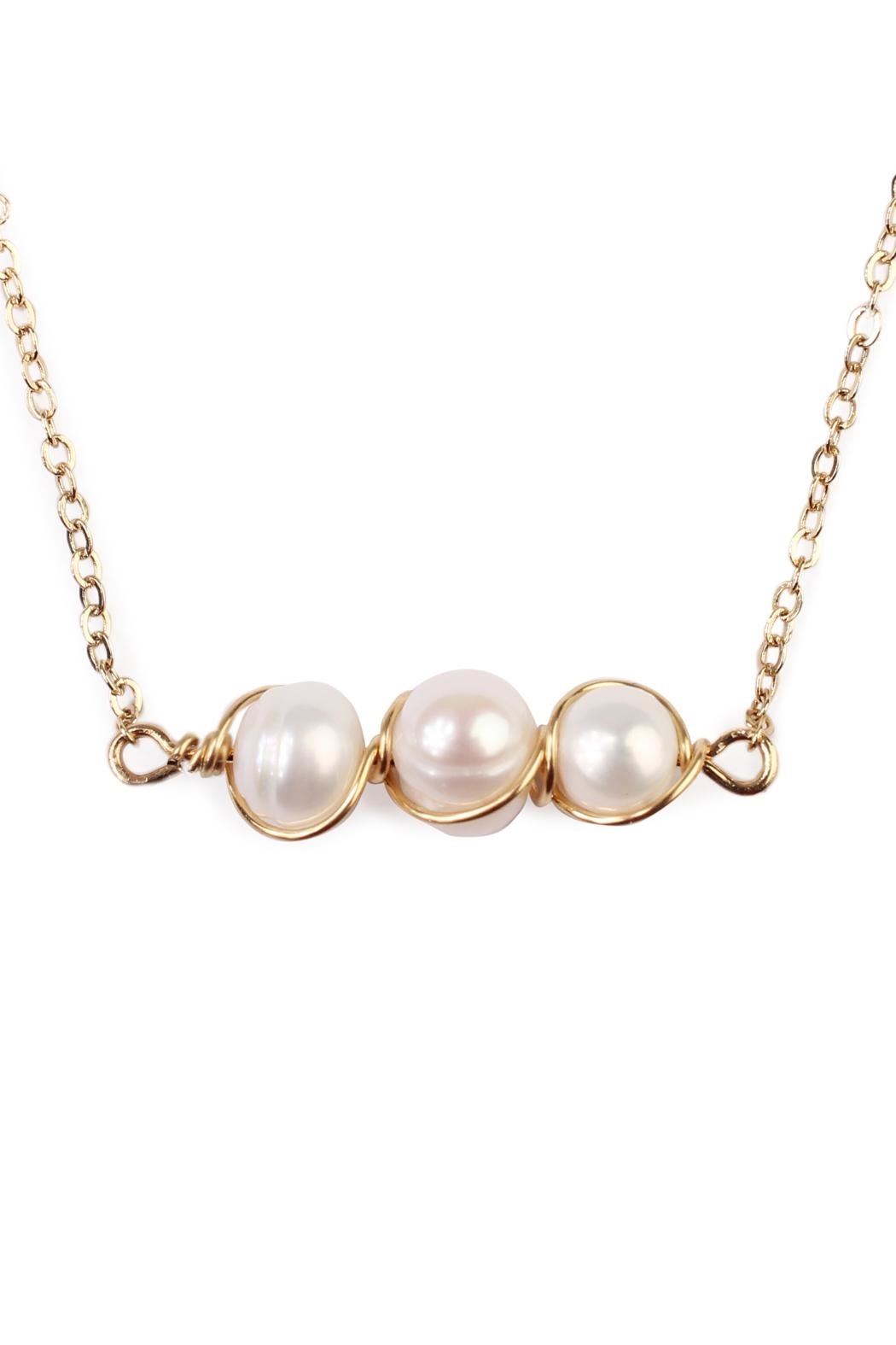 Riah Fashion Delicate Pearl Necklace - Front Full Image