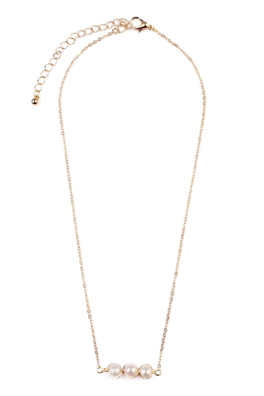 Riah Fashion Delicate Pearl Necklace - Front Cropped Image
