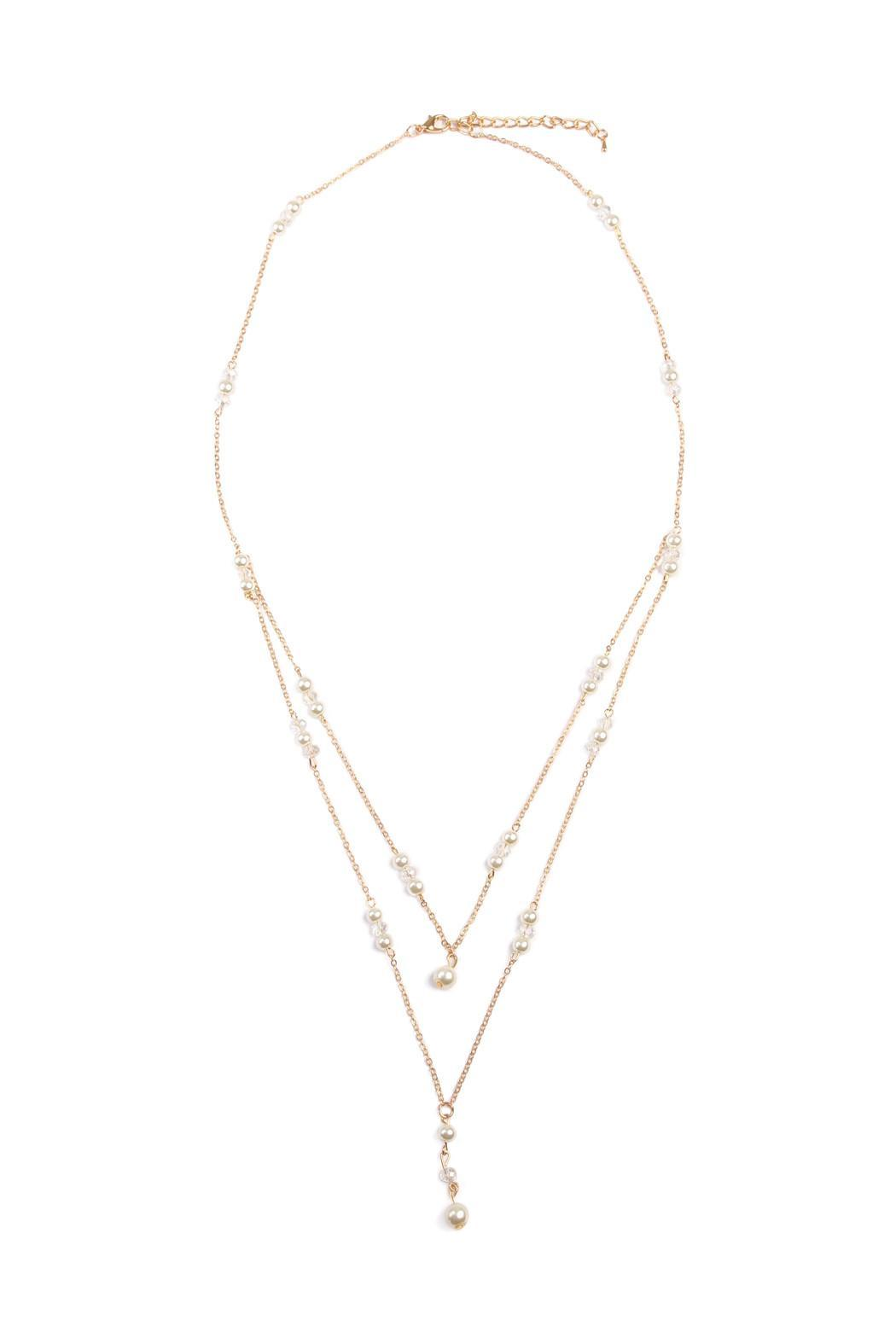 Riah Fashion Delicate Pearl Necklace - Main Image