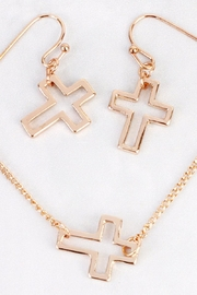 Riah Fashion Delicate Small-Cross-Line Necklace-Set - Back cropped