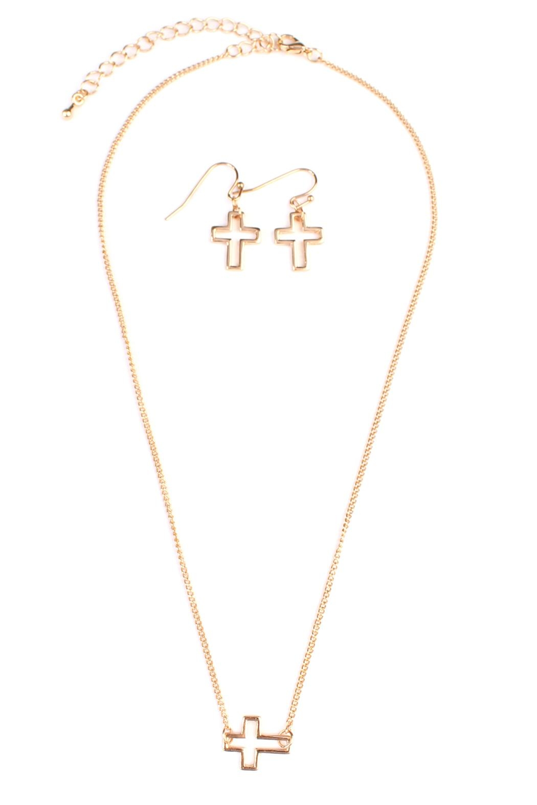 Riah Fashion Delicate Small-Cross-Line Necklace-Set - Main Image