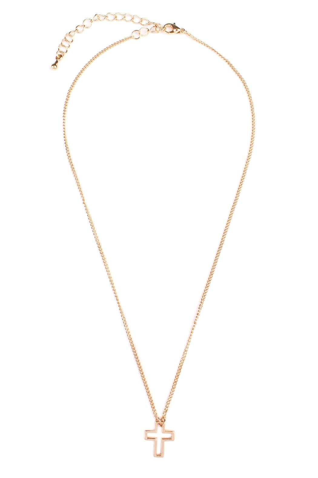 Riah Fashion Delicate Small-Cross-Line Necklace-Set - Side Cropped Image
