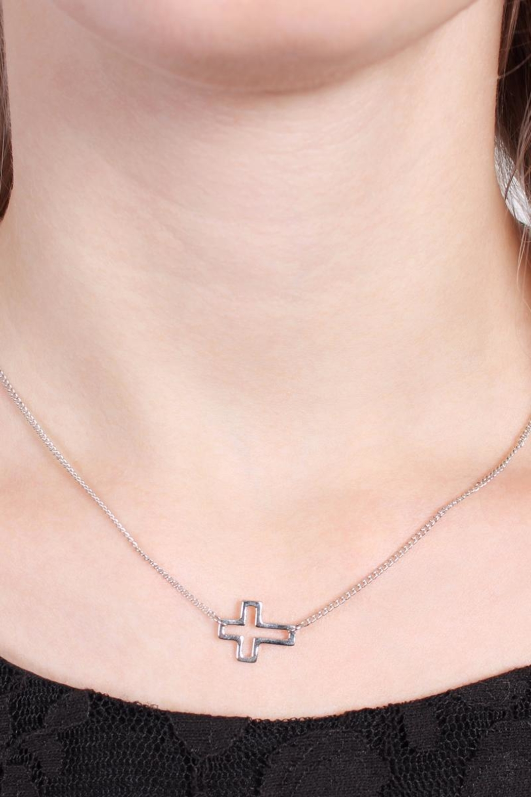 Riah Fashion Delicate Small-Cross-Line Necklace-Set - Back Cropped Image