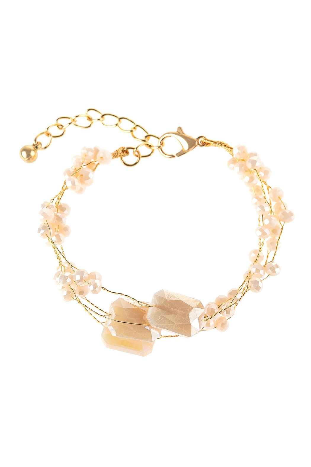 Riah Fashion Delicate Stone Beaded Bracelet - Front Full Image