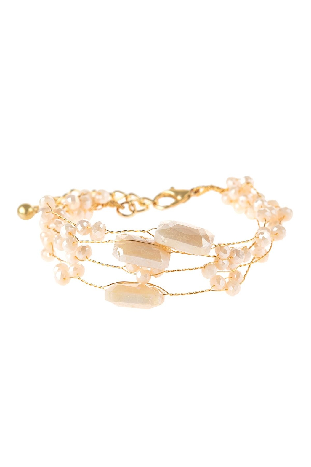 Riah Fashion Delicate Stone Beaded Bracelet - Front Cropped Image
