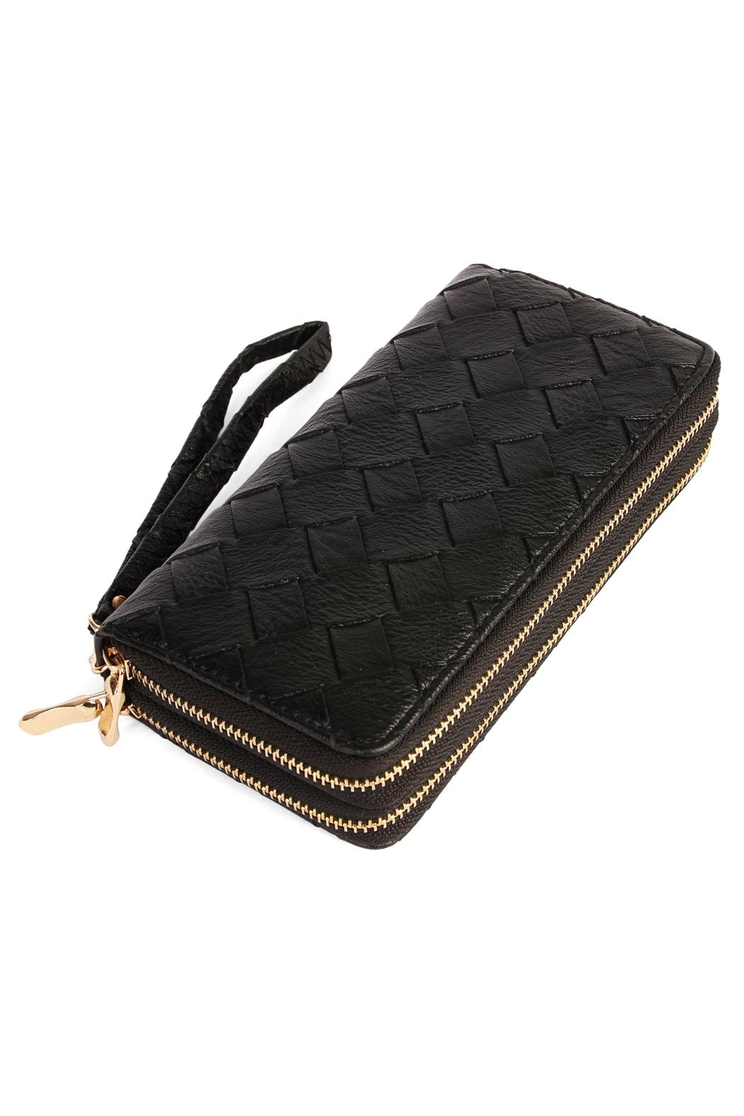 Riah Fashion Designer Double Zipper Wallet - Front Cropped Image