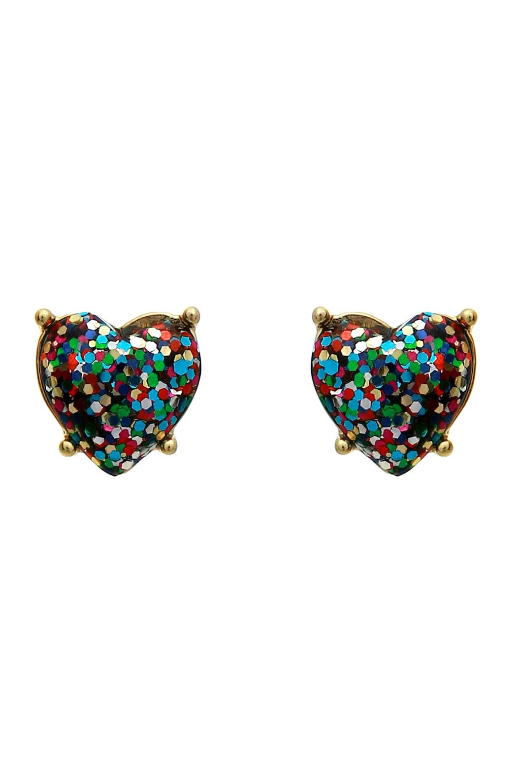 Riah Fashion Designer Glitter-Heart Earring - Front Cropped Image