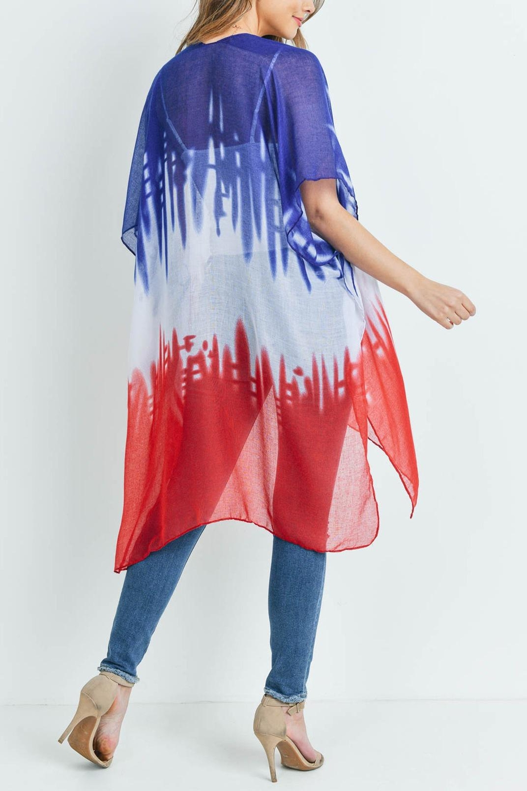 Riah Fashion Distressed Ombre Open Front Kimono - Back Cropped Image