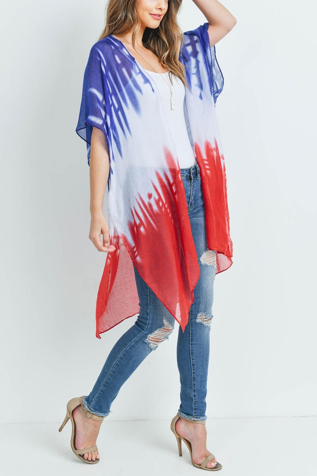 Riah Fashion Distressed Ombre Open Front Kimono - Side Cropped Image