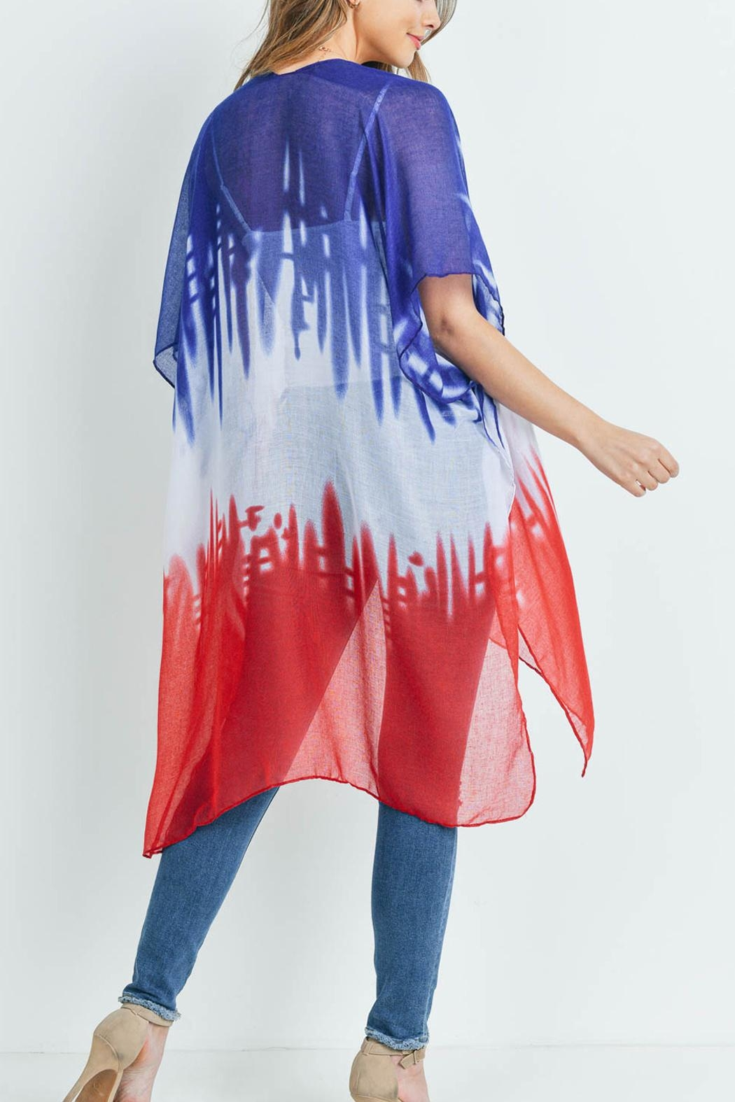 Riah Fashion Distressed Ombre Open Front Kimono - Front Full Image
