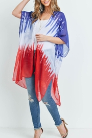 Riah Fashion Distressed Ombre Open Front Kimono - Side cropped