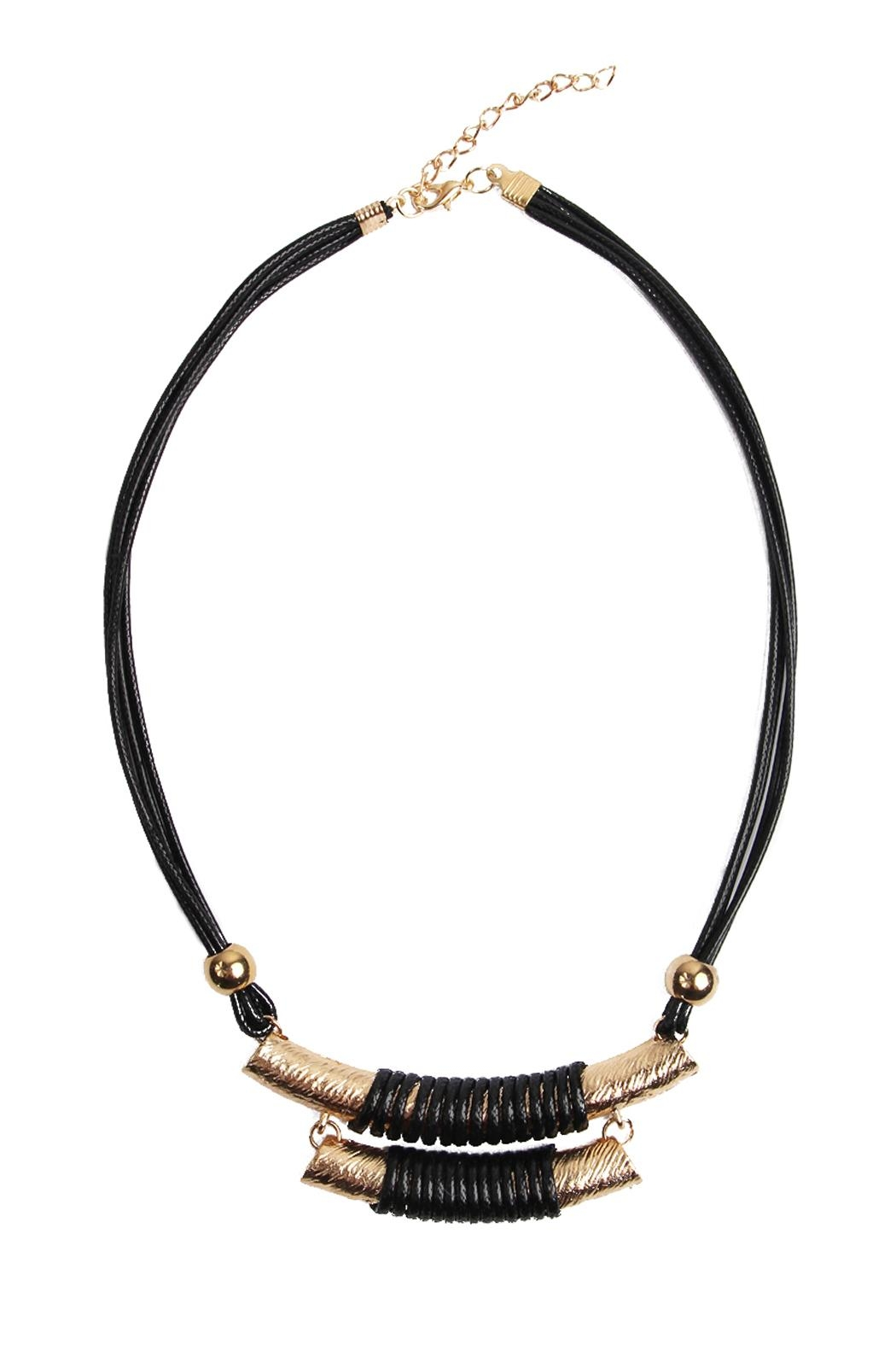 Riah Fashion Double Bar Cord Necklace - Main Image