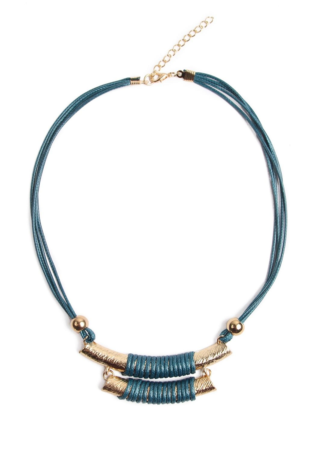 Riah Fashion Double Bar Cord Necklace - Front Cropped Image