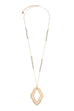 Riah Fashion Double-Cast-Marquise-Pendant With Glass-Beads-Necklace - Product List Image