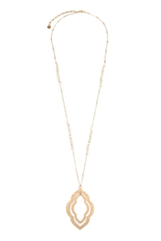 Riah Fashion Double-Cast-Marquise-Pendant With Glass-Beads-Necklace - Product Mini Image