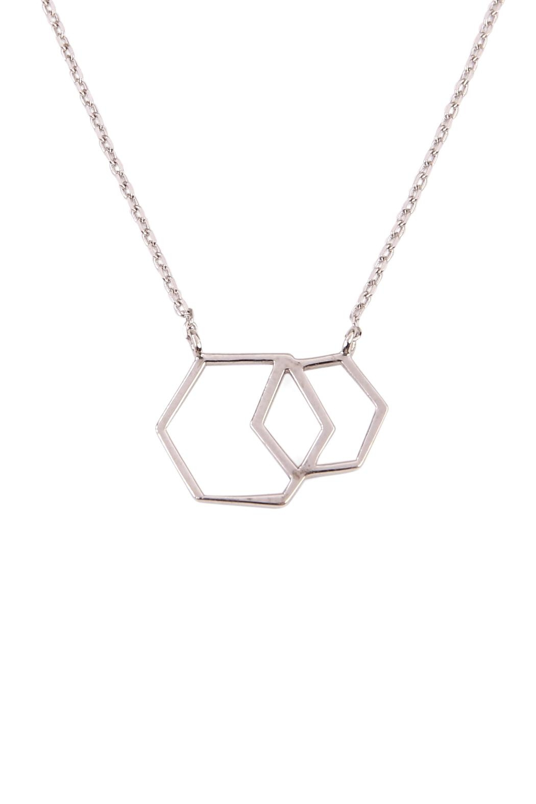 Riah Fashion Double Hexagon Pendant Necklace - Front Full Image
