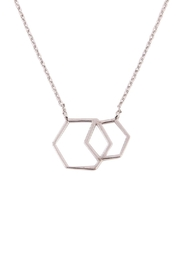 Riah Fashion Double Hexagon Pendant Necklace - Front full body
