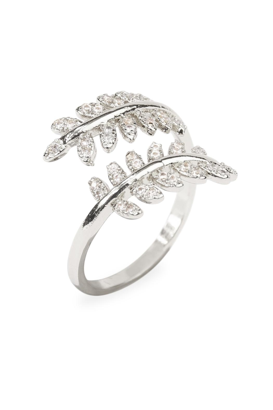 Riah Fashion Double Leaf Ring - Front Full Image