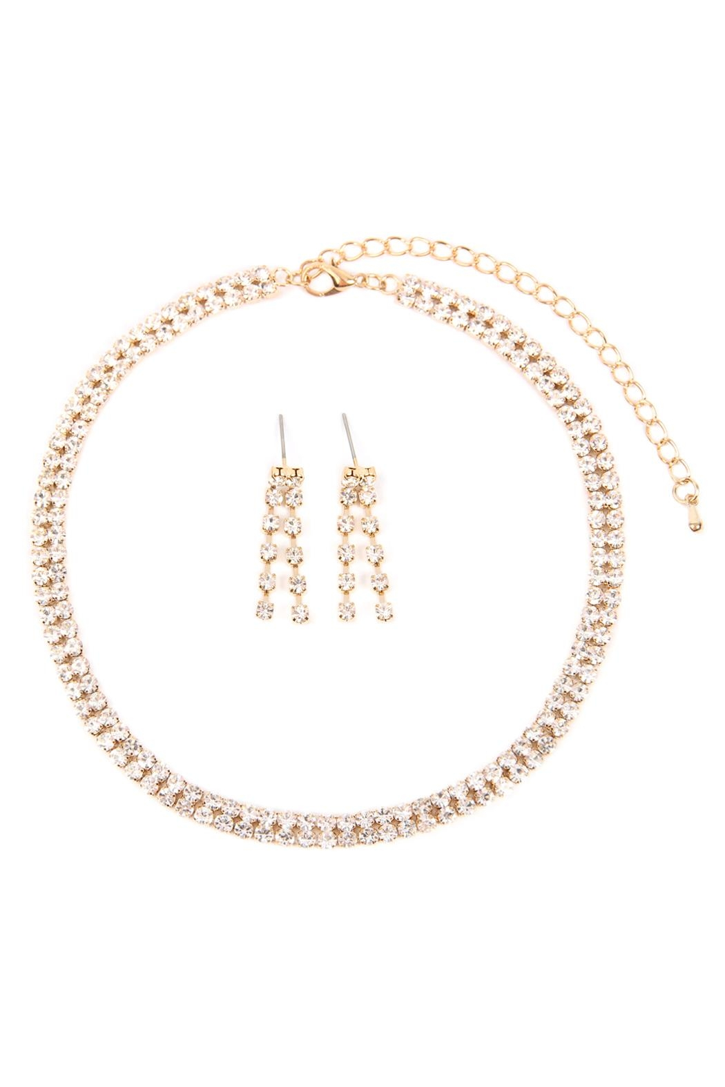 Riah Fashion Double-Line-Choker-Necklace-And-Earring-Set - Front Cropped Image