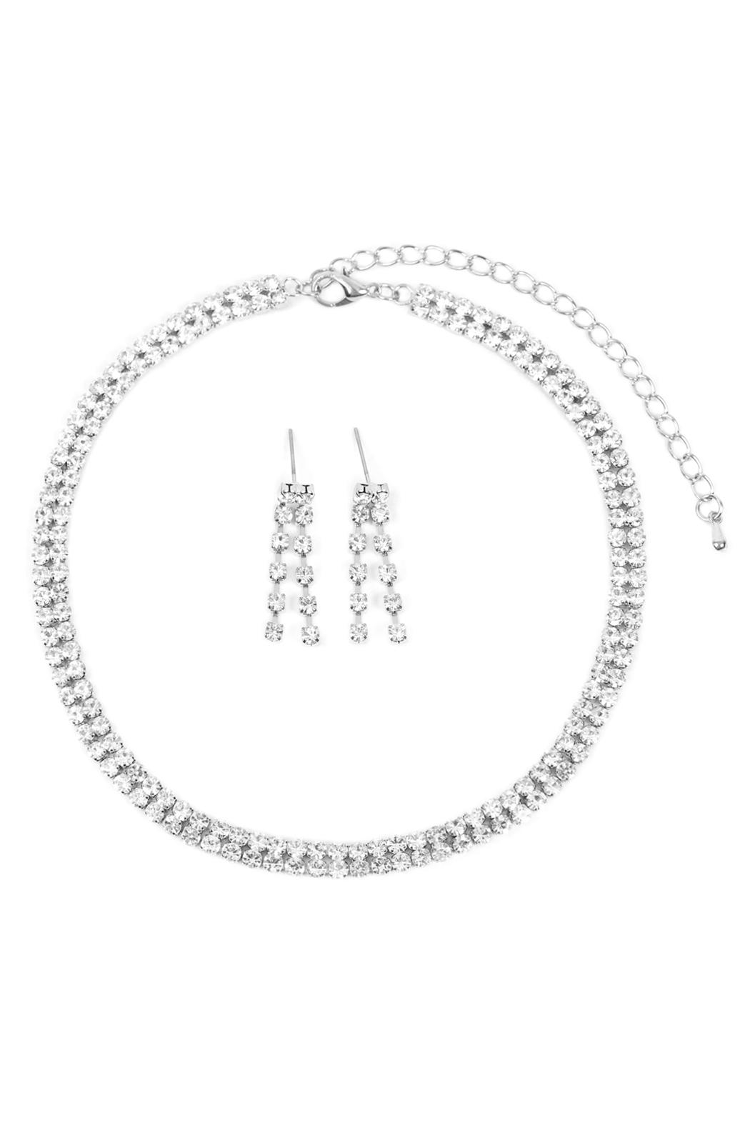 Riah Fashion Double-Line-Choker-Necklace-And-Earring-Set - Main Image