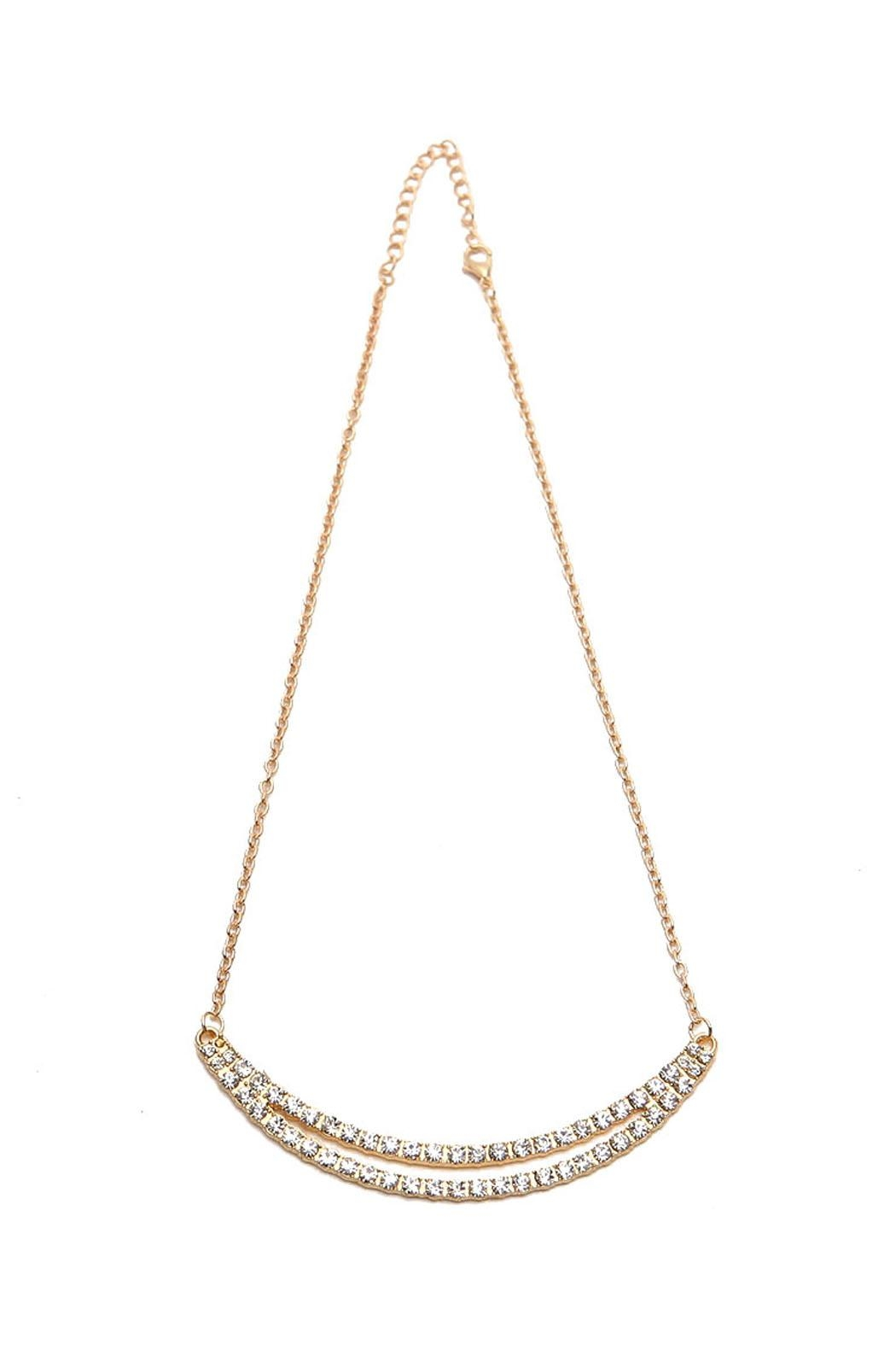 Riah Fashion Double Rhinestone Bar Necklace - Main Image