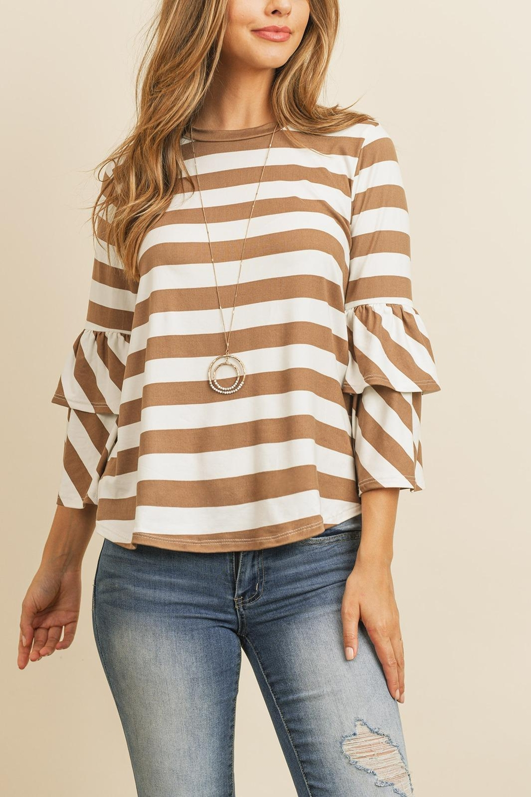 Riah Fashion Double-Ruffle-Long-Sleeve-Top - Front Cropped Image